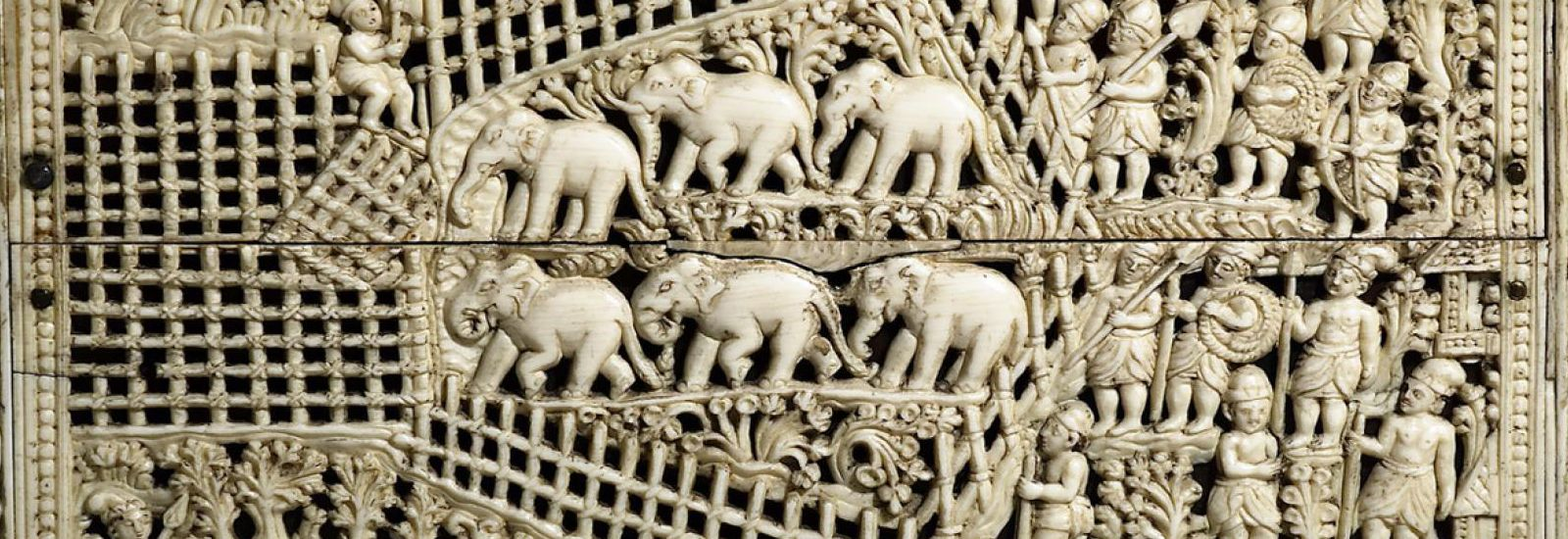 Ivory carving of elephants in the Ashmolean Museum