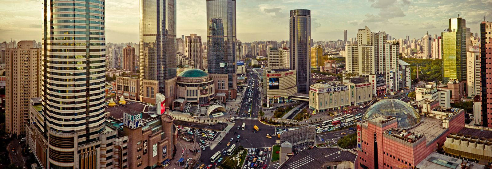 Elevated view of the central shopping district of Shanghai
