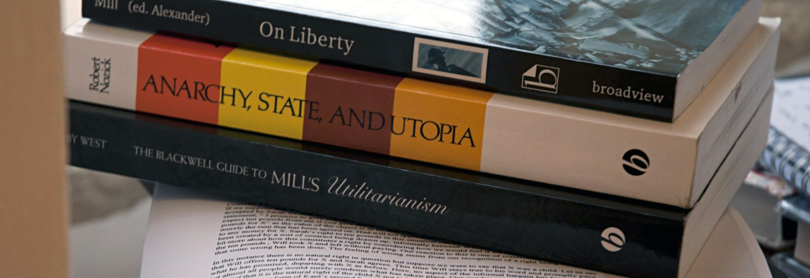 A pile of three political philosophy books