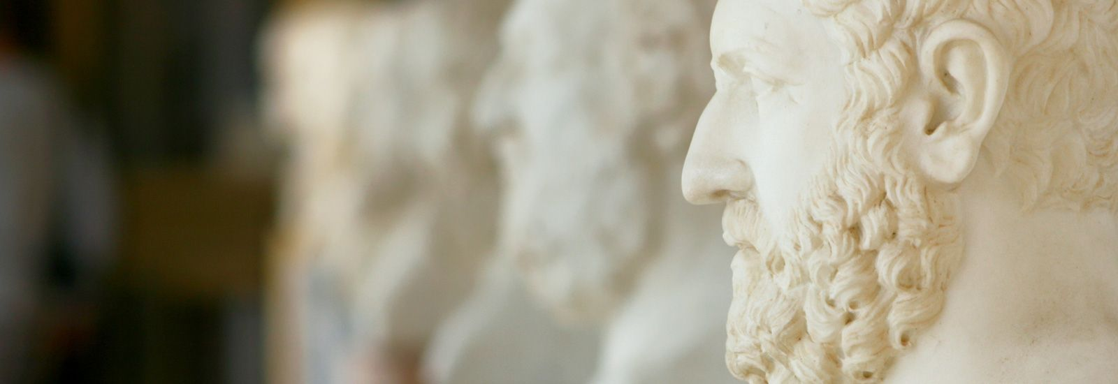 Philosophers busts on the terrace of Achillion palace, Corfu, Greece.
