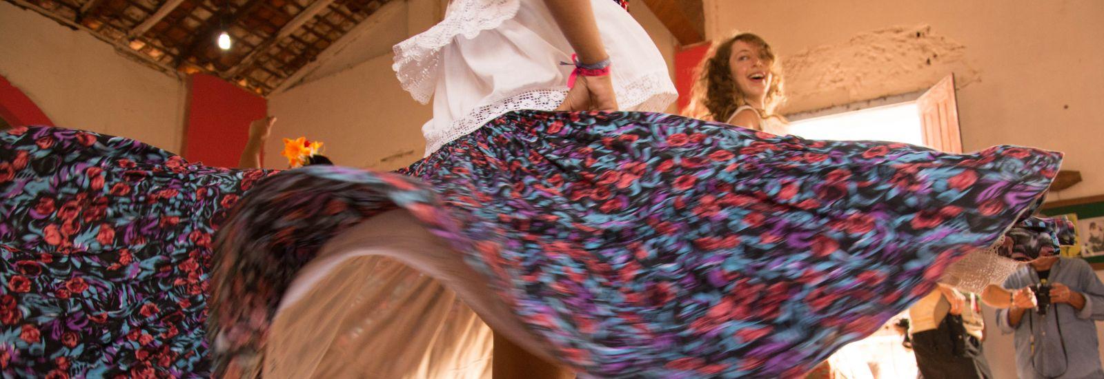 Carimbo dancers of Marajó teach Dr Bronwyn Tarr their traditional dance Image credit: Emanoela Neves