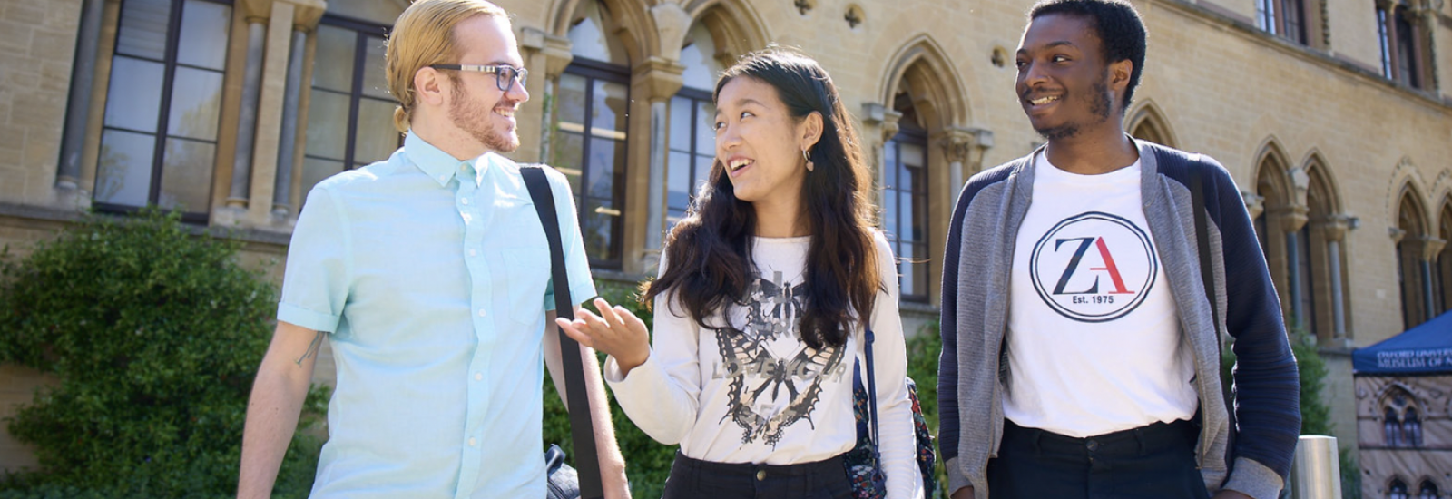 Three students in front of Oxford University Museum of Natural History. Credits: Ian Wallman, University of Oxford