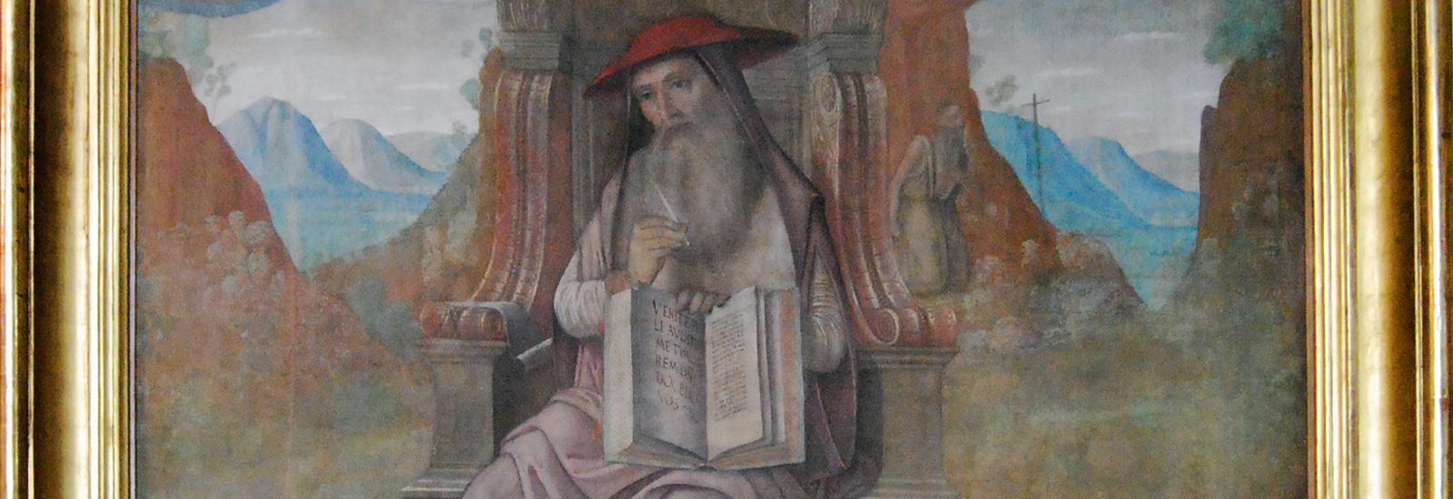 A close up of a painting of St Jerome