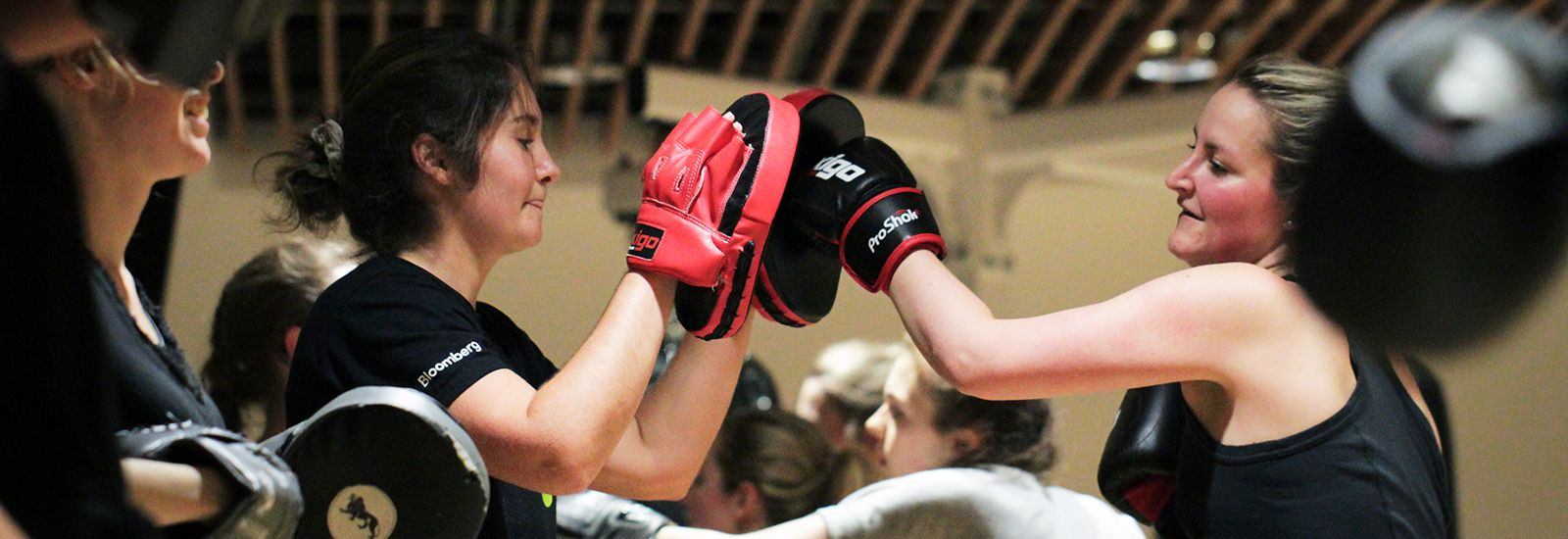 Two students practicing boxing