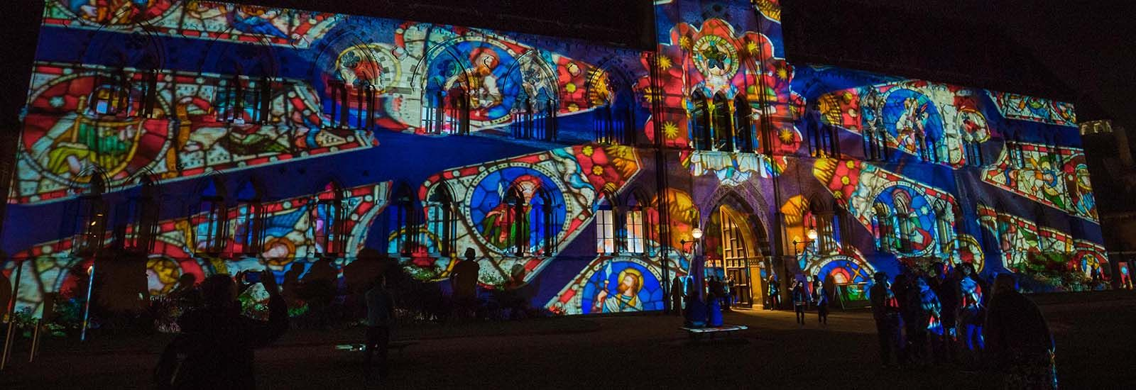 Oxford University's Museum of Natural History lit up by the Society of Light and Lighting