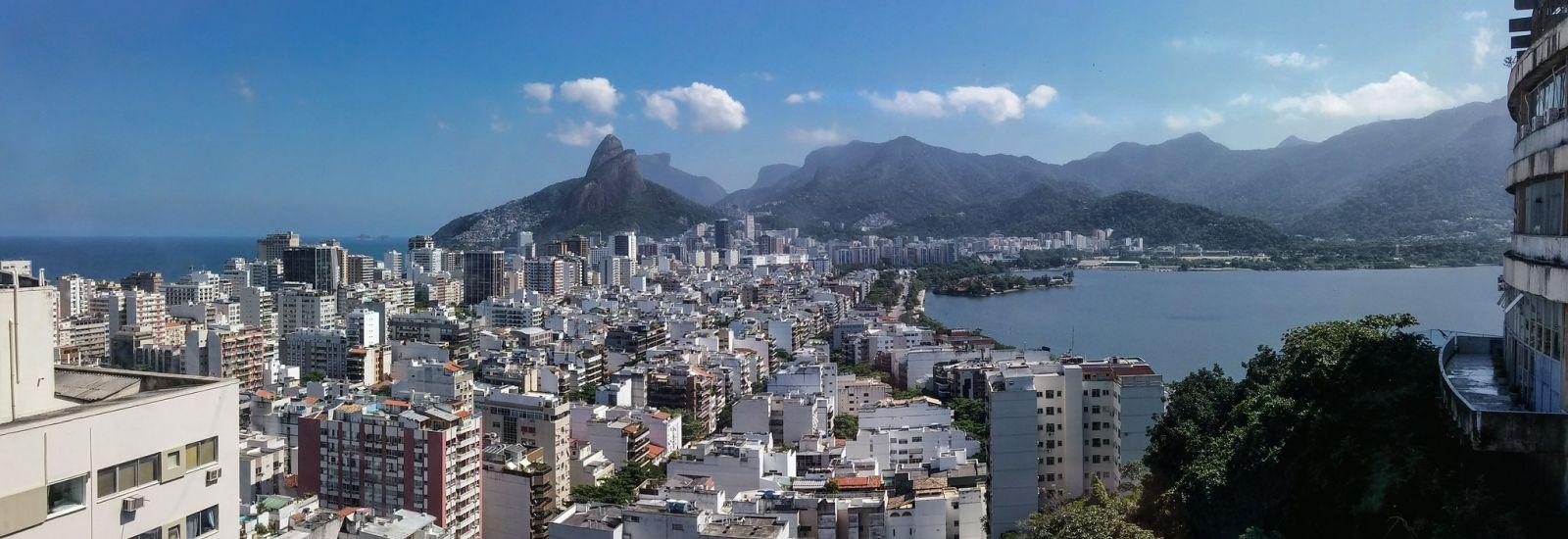 View over Rio de Janeiro, looking towards mountains