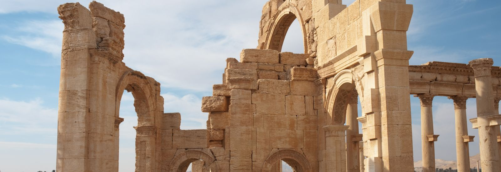 Side view of Palmyra's Monumental Arch