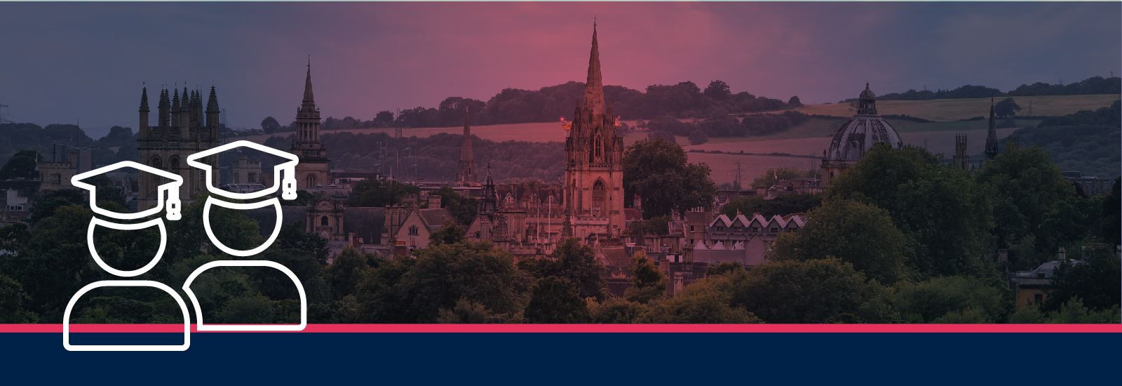 Icons of students on an image of Oxford's spires