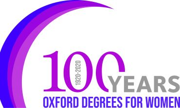 Purple and grey logo with text  reading 100 years - Oxford degrees for women