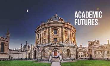 Radcliffe square at dawn with the Academic Futures logo