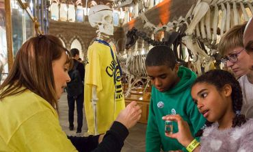 A photograph of visitors to the Curiosity Carnival at the Museum of Natural History