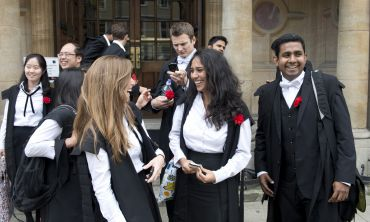 MBA students leave the Examination Schools after an exam