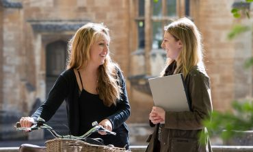 Chatting in Holywell Quad