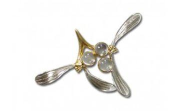 Silver Mistletoe Brooch