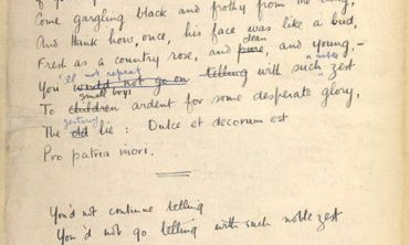 Original manuscript of 'Dulce et Decorum Est', Wilfred Owen