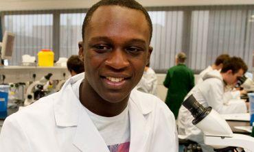 Medical student in lab coat