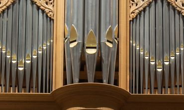 The pipes on an organ.