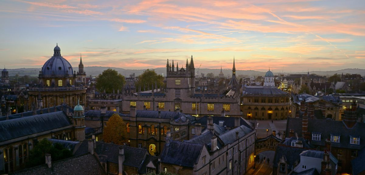 Oxford skyline at dusk