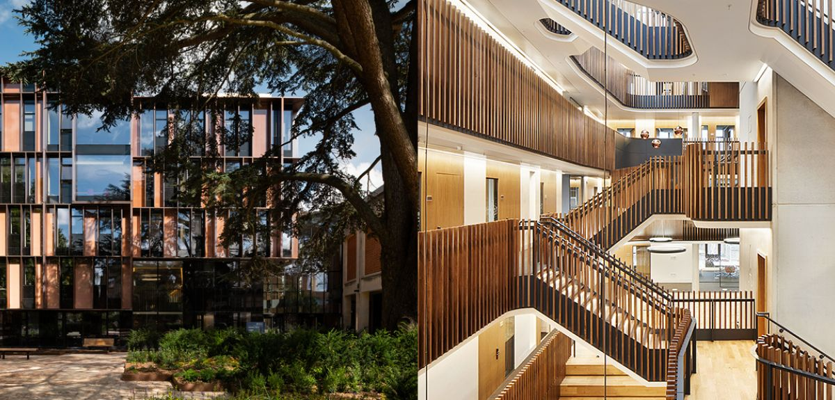 Exterior and interior views of the Beecroft Building