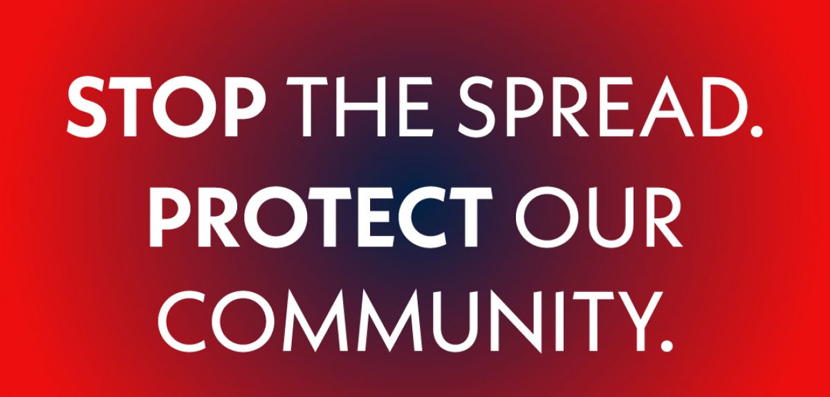 Stop the spread. Protect our community text on red background.