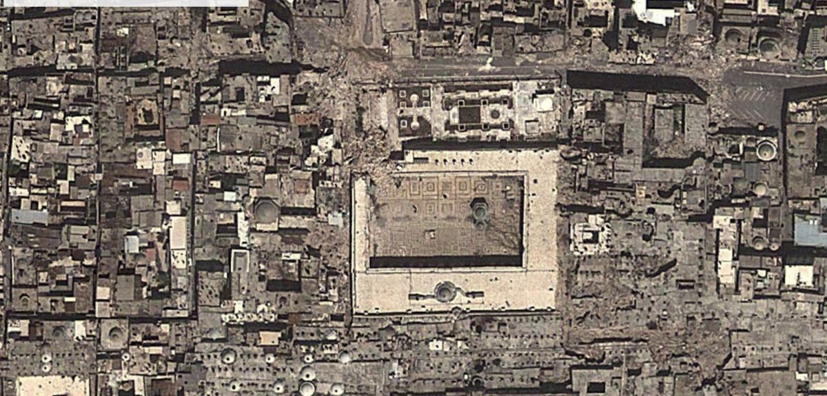Google Earth image shows piles of rubble where the Great Mosque's minaret once stood at Aleppo in Syria. This is regarded as one of the finest mosques in the world.