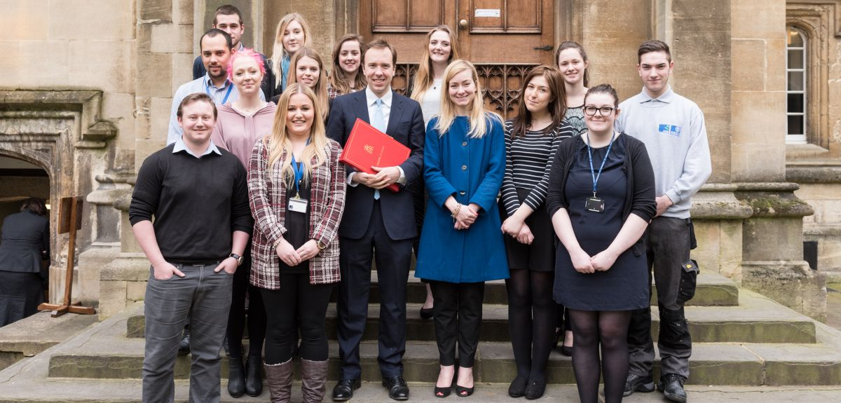 University apprentices joined skills minister Matthew Hancock MP and local MP Nicola Blackwood to launch the expanded apprenticeship programme.