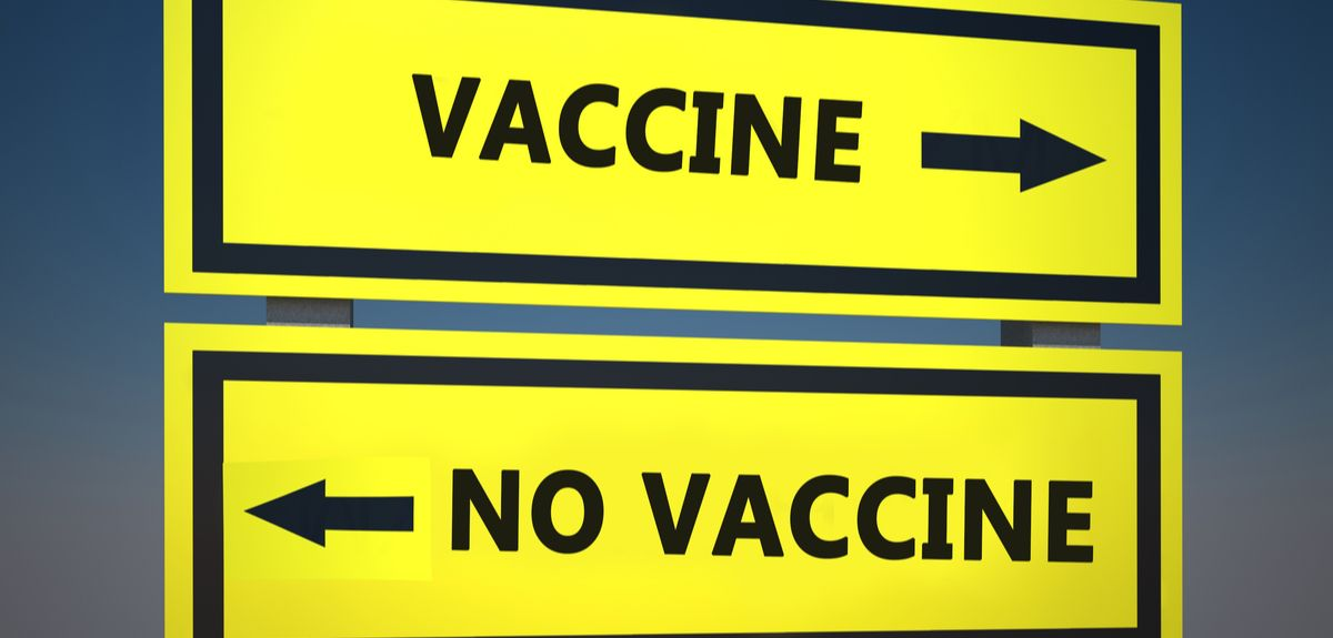Sign depicting vaccine or no vaccine
