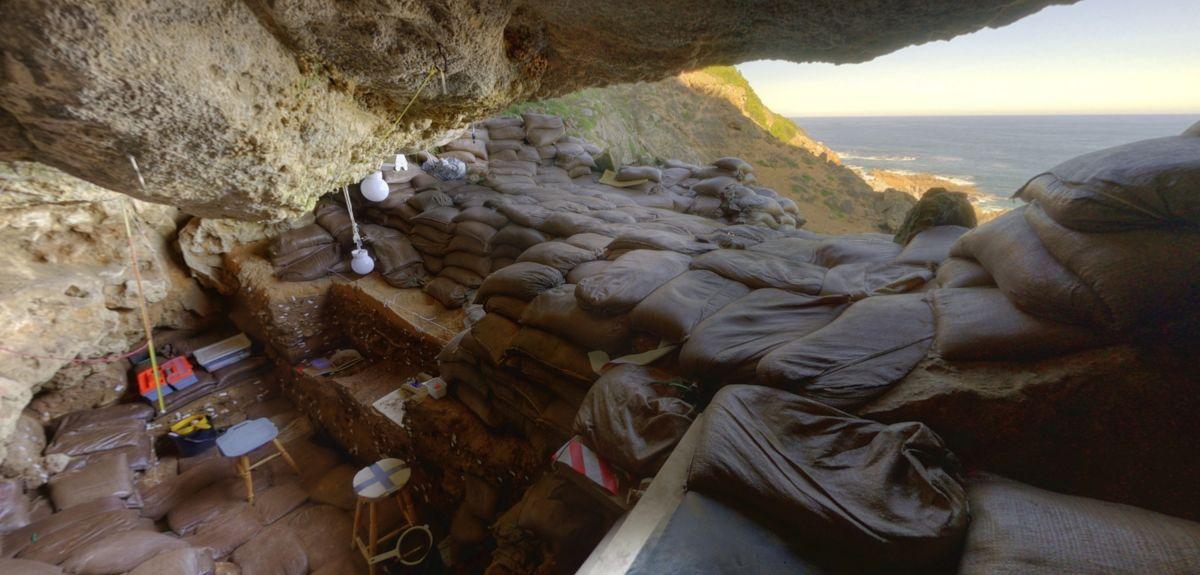 Blombos Cave, east of Cape Town, South Africa, is an archaeological site containing Middle Stone Age deposits.