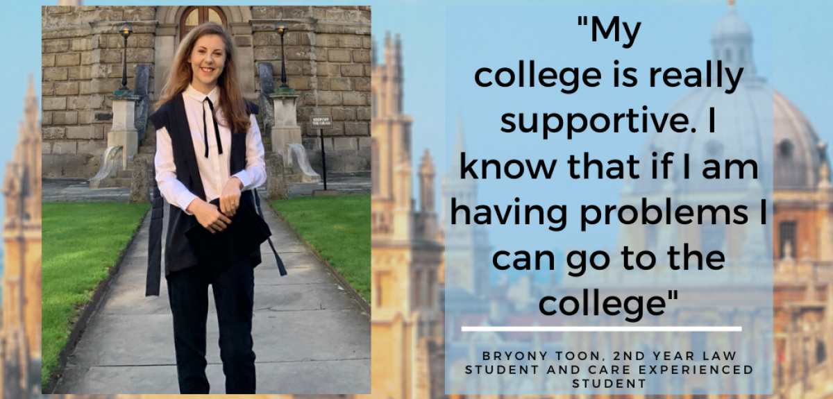 """Image of Bryony Toon wearing Academic dress. There is quote which reads """"my college is really supportive, I know that if I am having problems I can go to the college"""""""