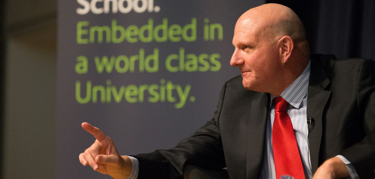 Steve Ballmer, Chief Executive at Microsoft, on a visit to Saïd Business School in 2014.