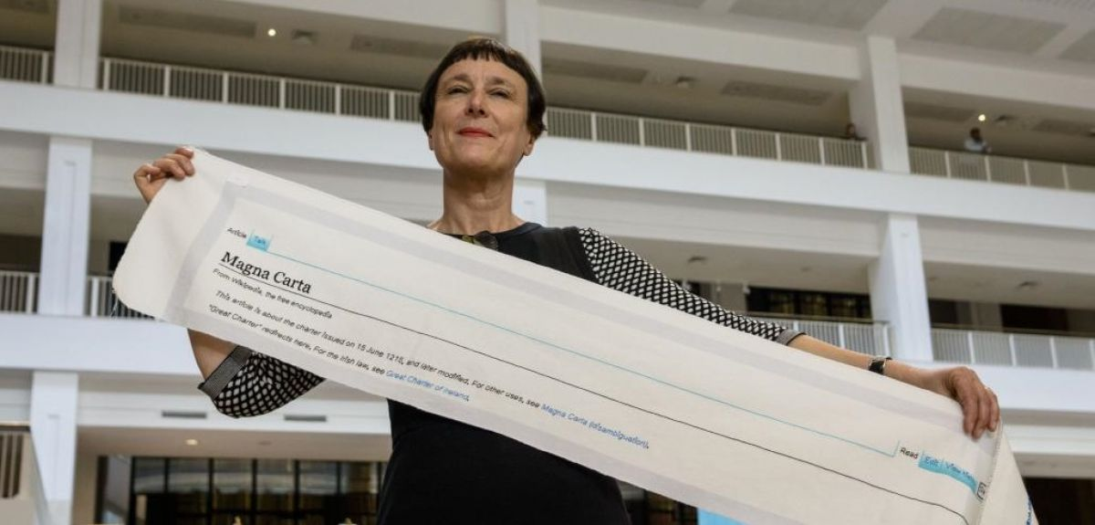 Cornelia Parker with the beginning of the embroidery