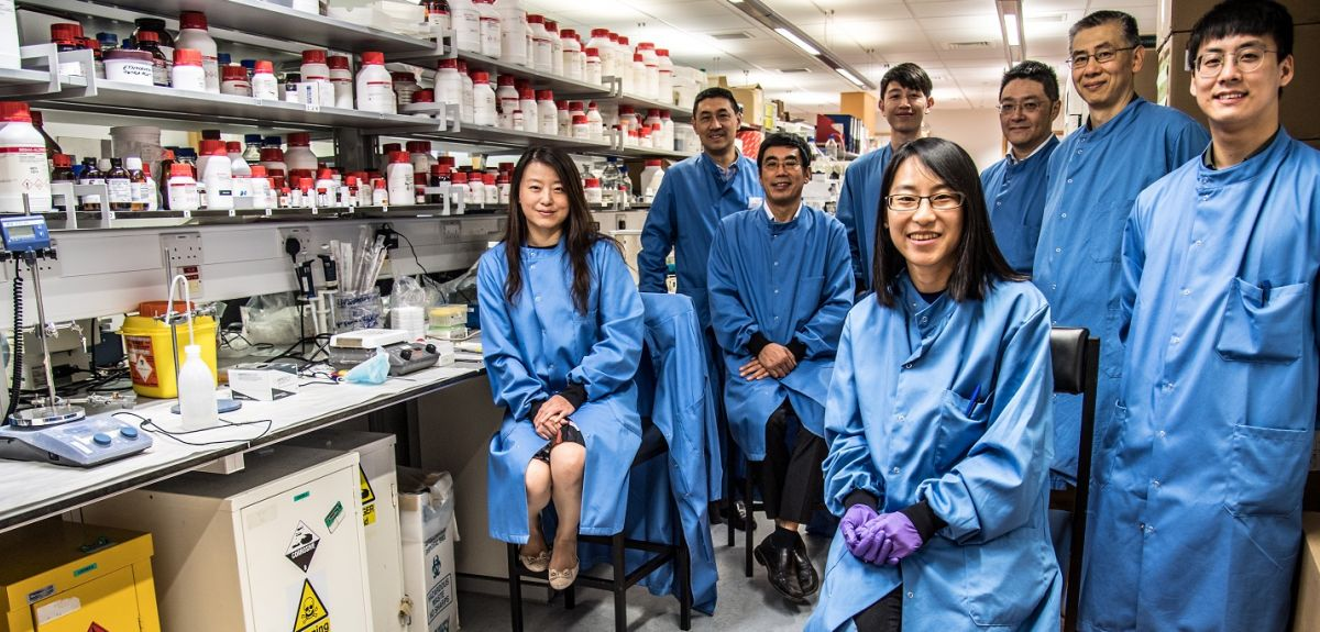 The rapid RNA test posing for photograph in their lab