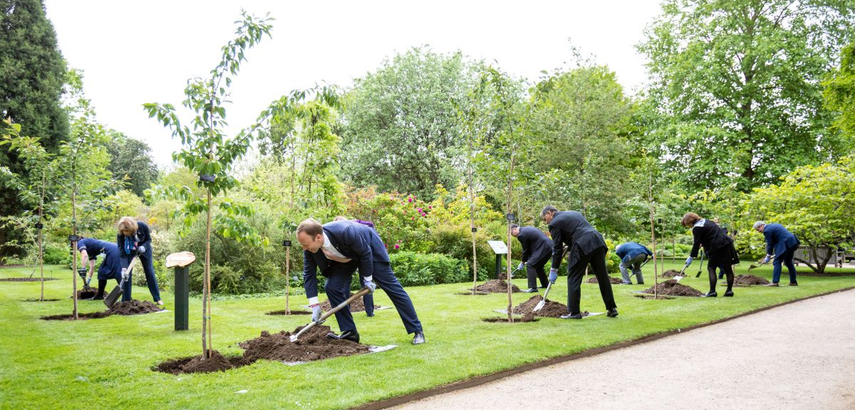 Image of health ministers from across the world who came together in a tree-planting ceremony to remember those who have tragically lost their lives to COVID-19, marking the conclusion of the G7 Health Ministers' Meeting in Oxford on Friday 4 June
