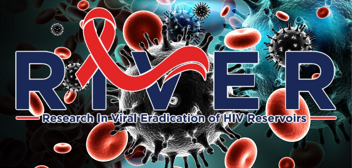 RIVER programme logo in front of an illustration of HIV