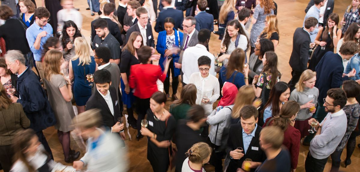 Postgraduate scholarship holders gather at the start of term in the Sheldonian. Image copyright John Cairns.