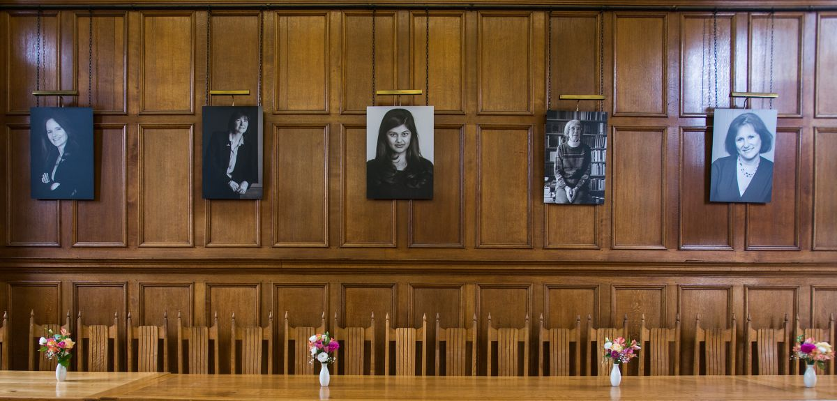 The new Hertford College dining hall has replaced paintings of men with photographs of women.