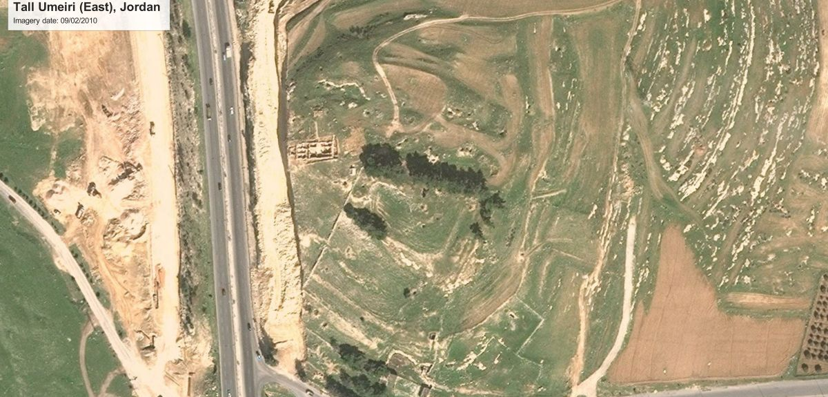 Tell Umeri is an ancient settlement mound in Jordan. As you can see from the Google Earth image, the western edge of the settlement mound has been bulldozed and a modern road now runs alongside this ancient tell.