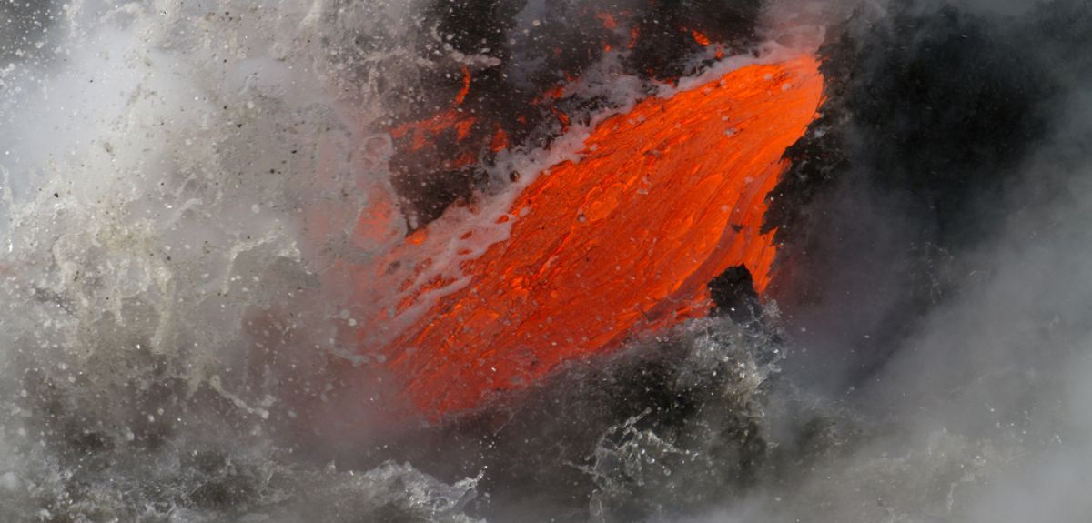 Magma meeting icy water