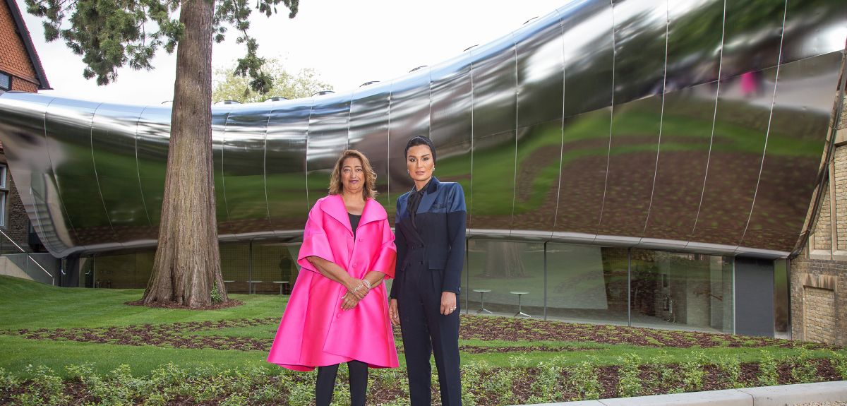 Dame Zaha Hadid and Her Highness Sheikha Moza at unveiling of new building.