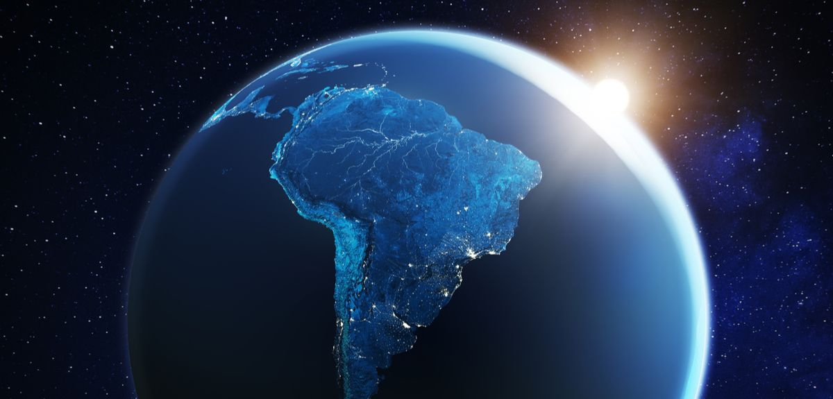 A shot of Latin America from space