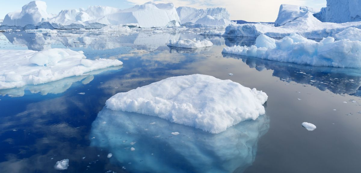 Ice and icebergs of unusual forms and colours