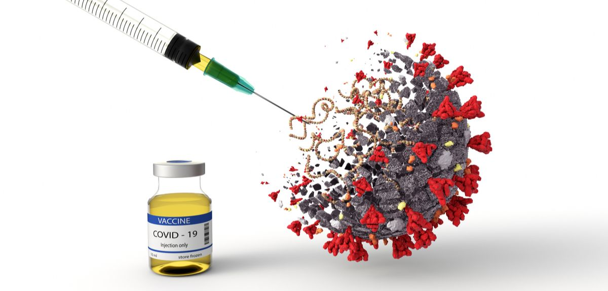 Rendered picture depicting vaccine effectiveness against Covid-19 virus