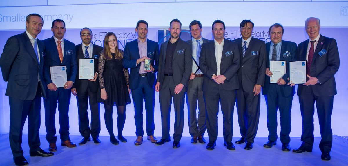 Graeme Smith, CEO (centre) and the Oxbotica team receive their Boldness in Business Award from Lionel Barber (far left) and Lakshmi Mittal (third from right)  Copyright: Oxbotica