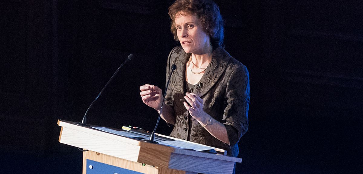 Professor Susan Jebb gives the Oxford London Lecture on obesity. Credit: John Cairns.