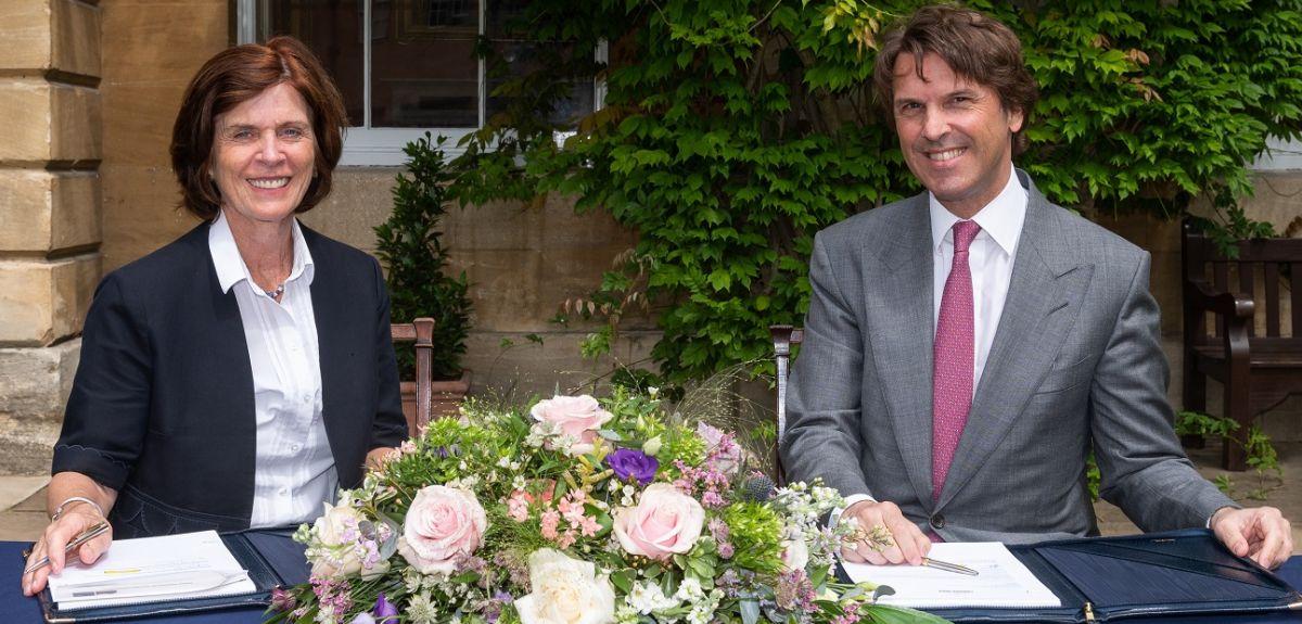 Professor Louise Richardson and Hubert Keller of Lombard Odier