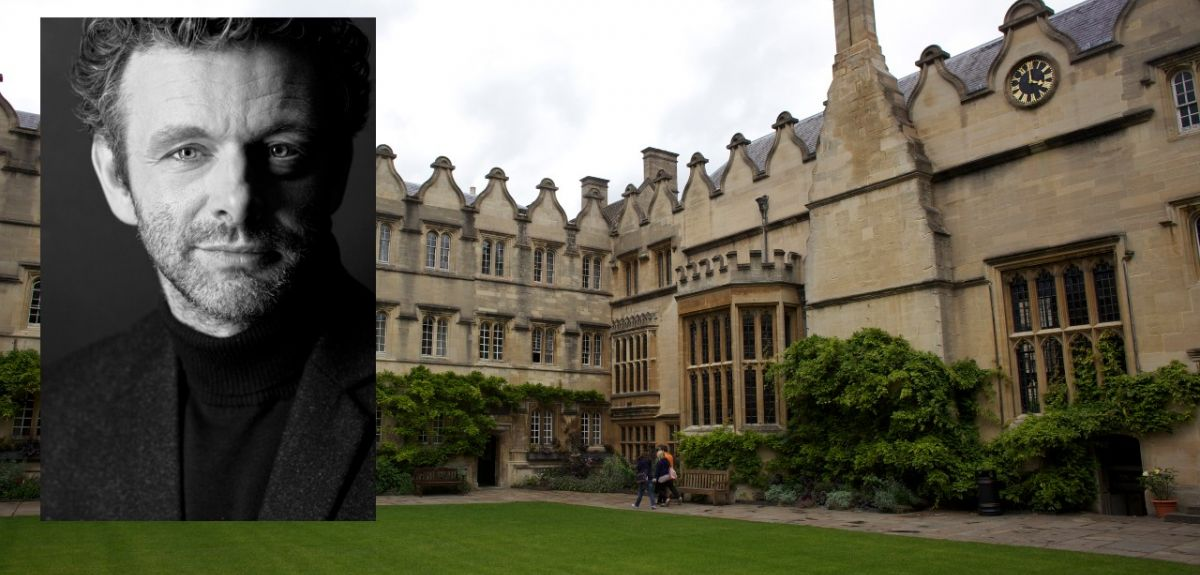 Image of Jesus College, Oxford with inset of Michael Sheen
