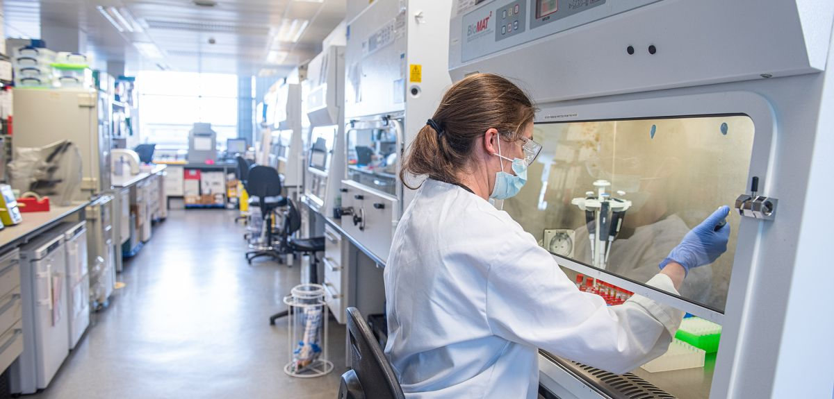 Researcher working on vaccine in the lab