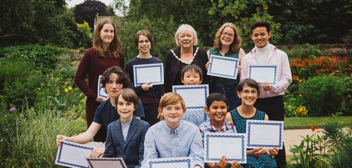 Peregrine Prize winners with Oxford's Deputy Lord Mayor, Cllr Christine Simm