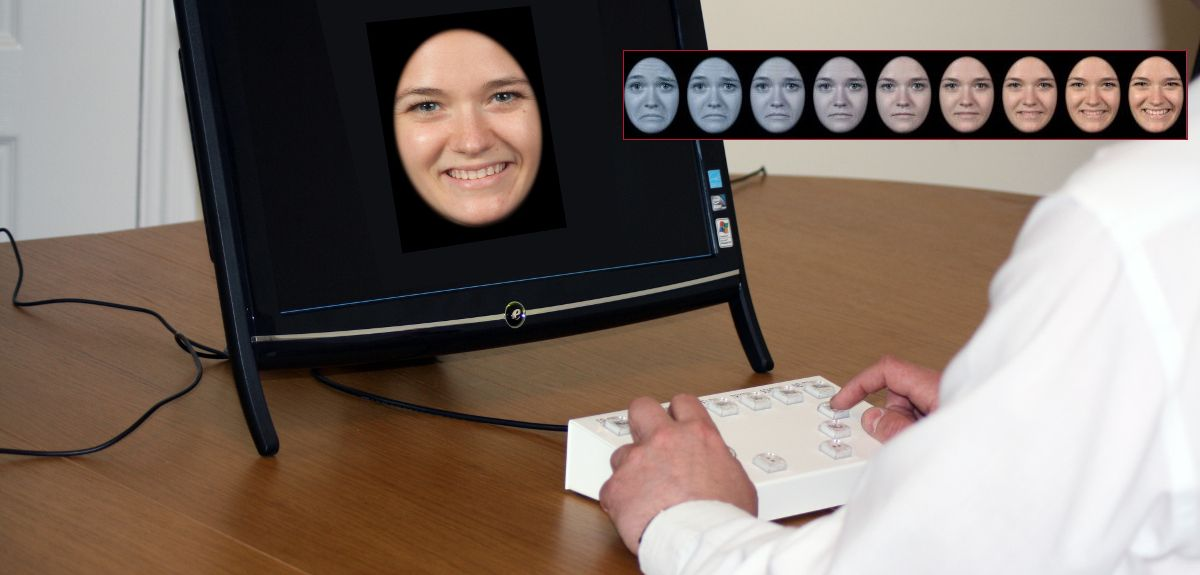 The PReDicT test asks people to respond to a range of faces (inset)