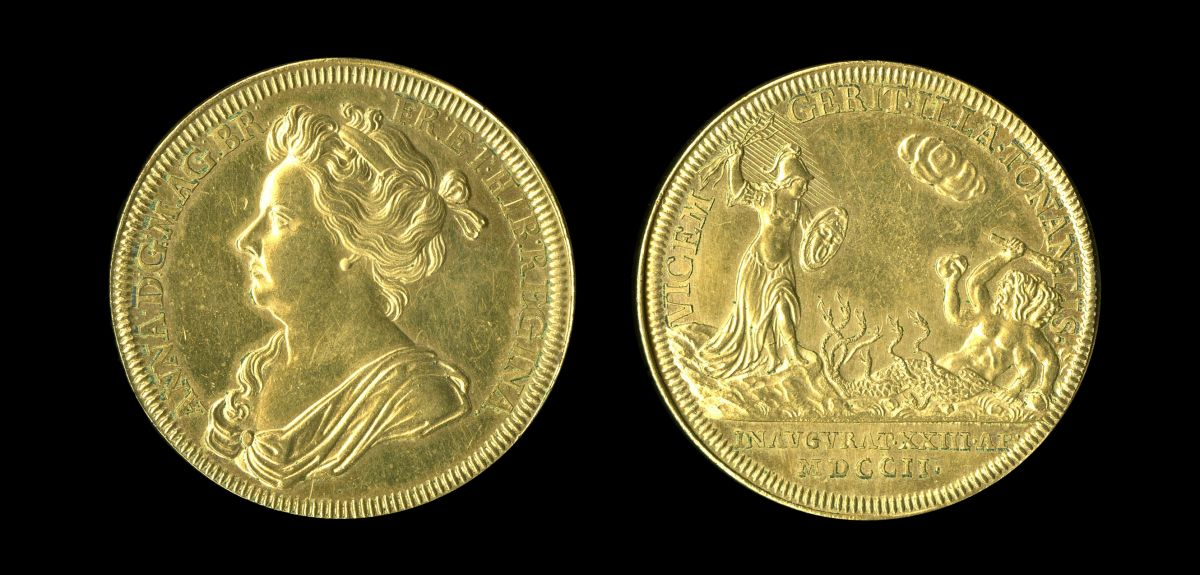 Queen Anne's medal, designed by Newton